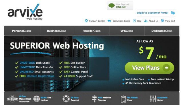 Arvixe hosting homepagea