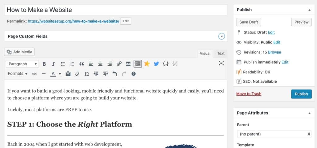 WordPress editing a page