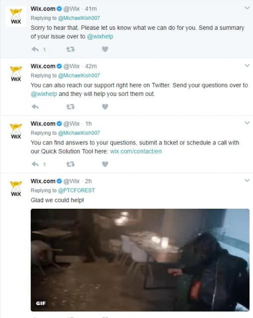 Wix social media customer support