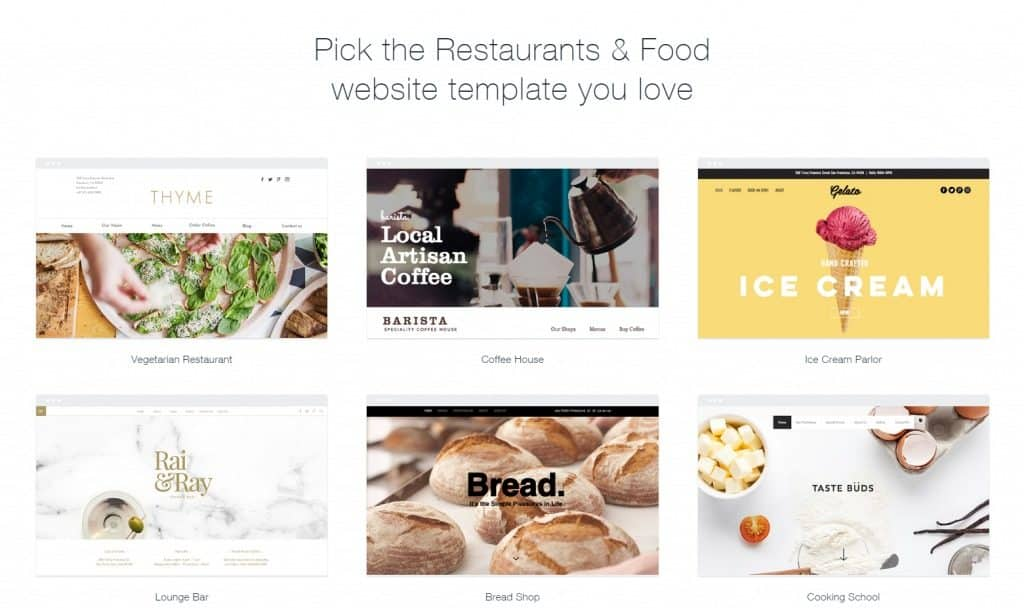 Wix restaurant website templates