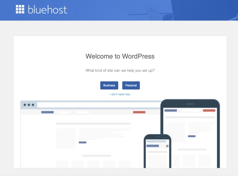 Bluehost welcome screen