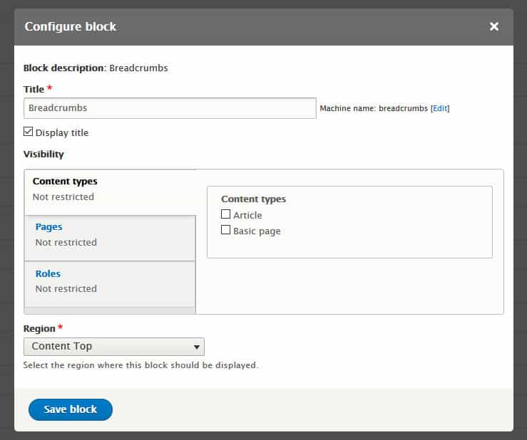 configure drupal blocks