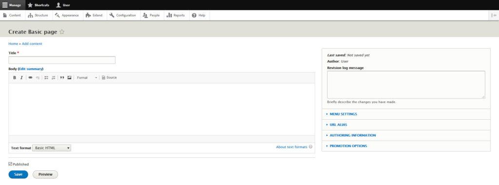 drupal basic page editor