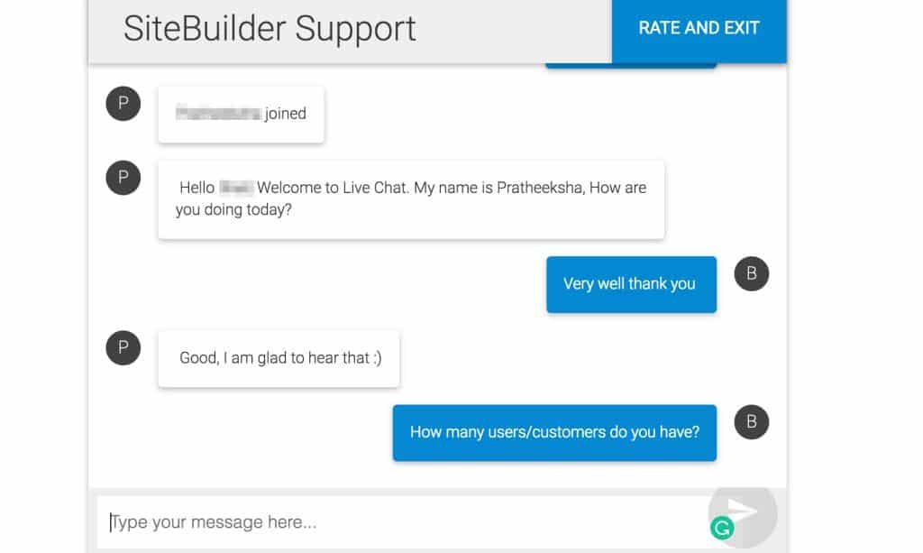 SiteBuilder Live Chat