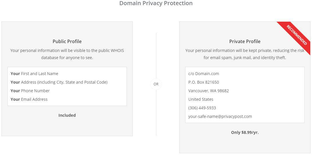 Domain privacy protection