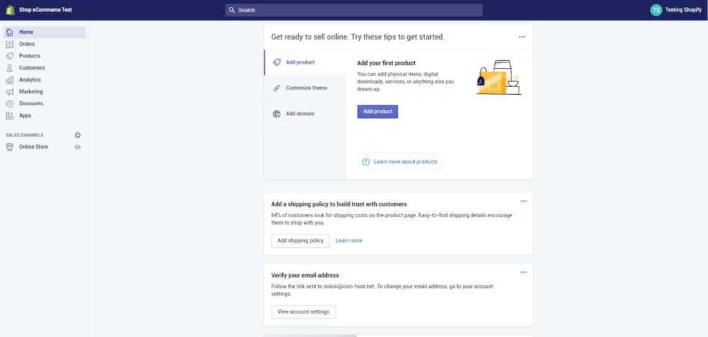 shopify admin panel
