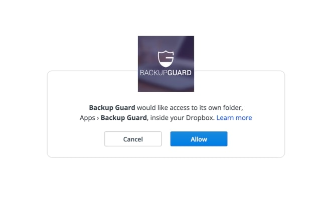 Backup Guard Dropbox-verbinding