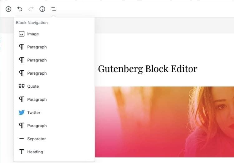 Gutenberg-Block-navigatie