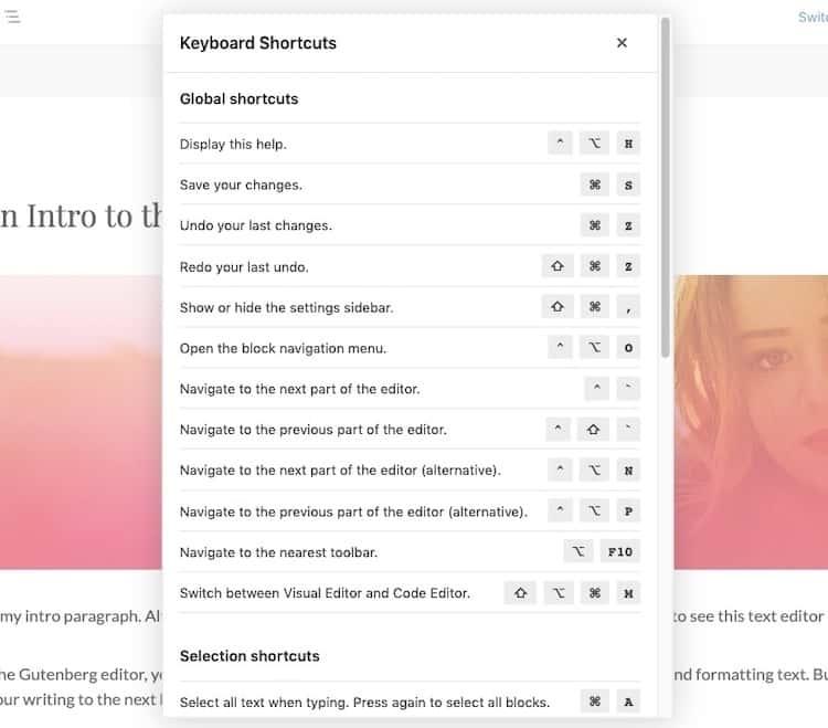 Gutenberg-Keyboard-Shortcuts
