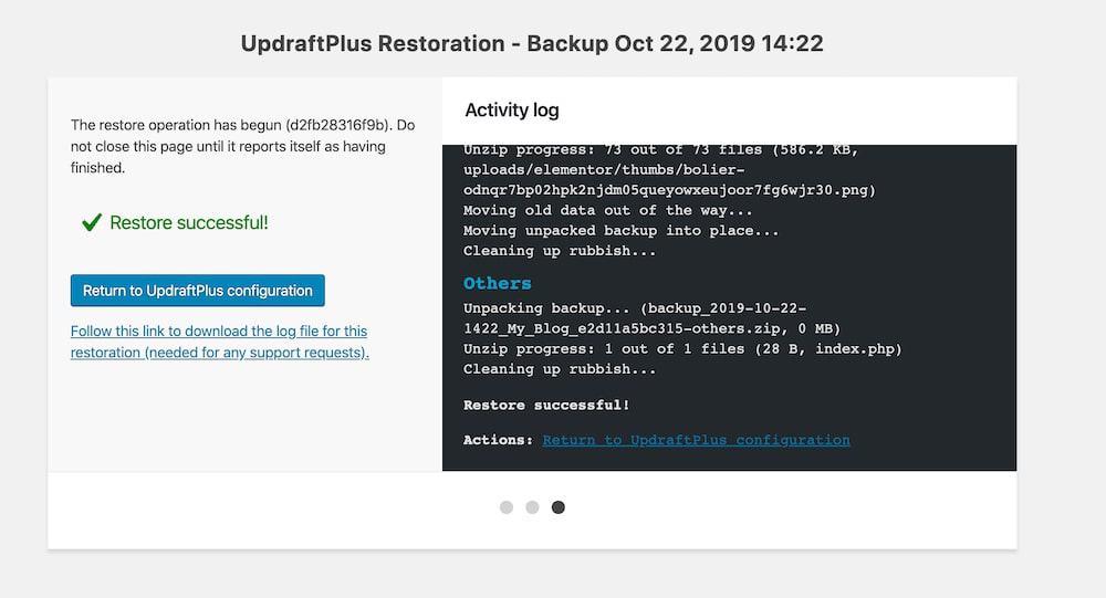 Restoration Successul UpdraftPlus