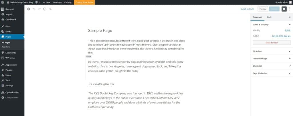 WordPress voorbeeldpagina