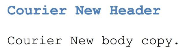 Web Safe Font - Courier New