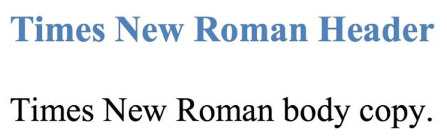 Web Safe Font - Times New Roman
