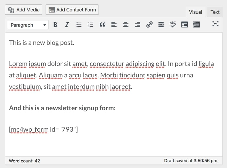 add form under a post