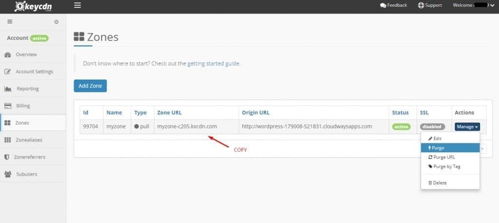 KeyCDN Zone URL