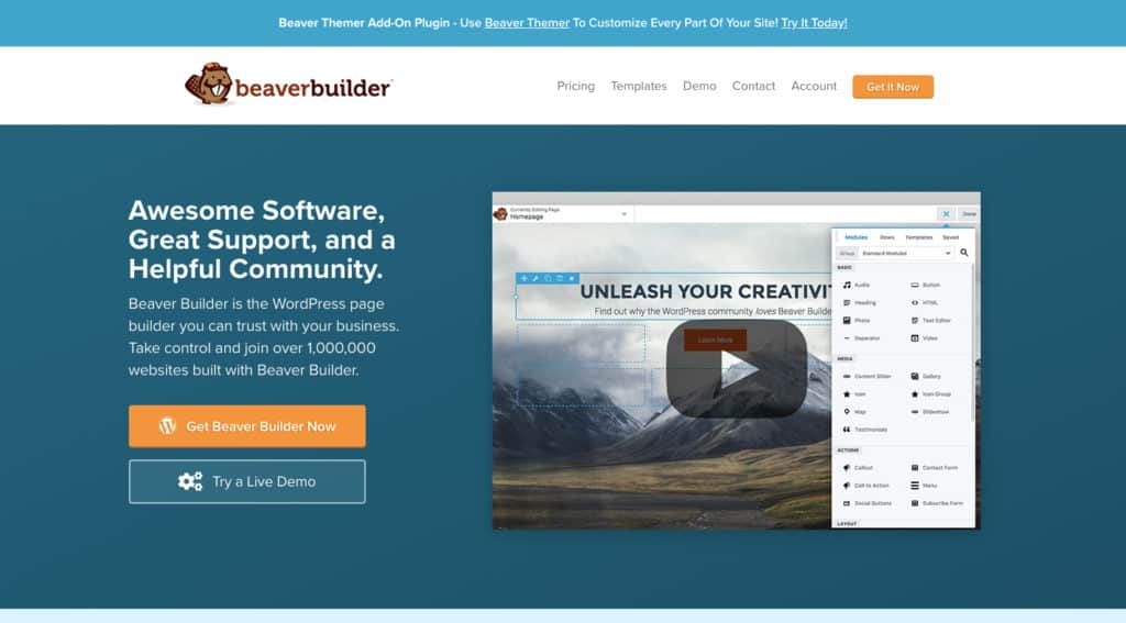 Beaver Builder - page builder plugins for WordPress