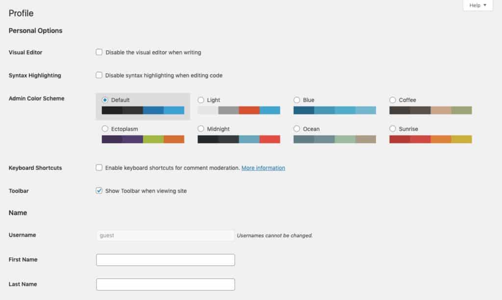 Modifica profilo utente