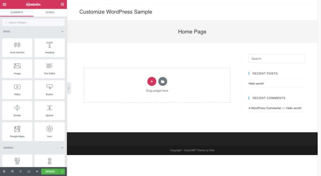 Esempio di Home Page di Elementor