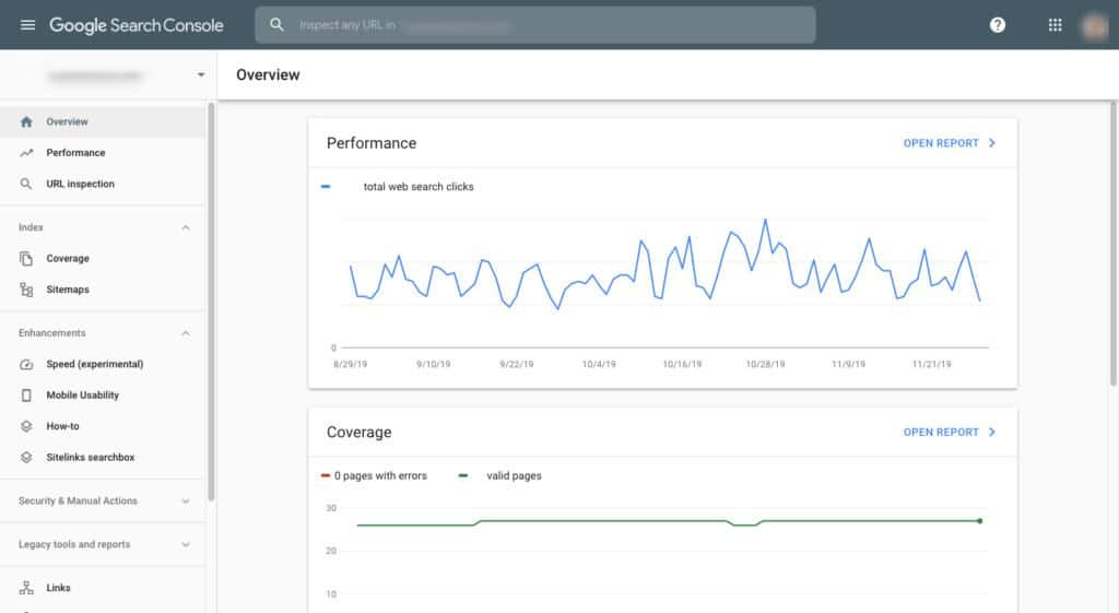 Dashboard di Google Search Console