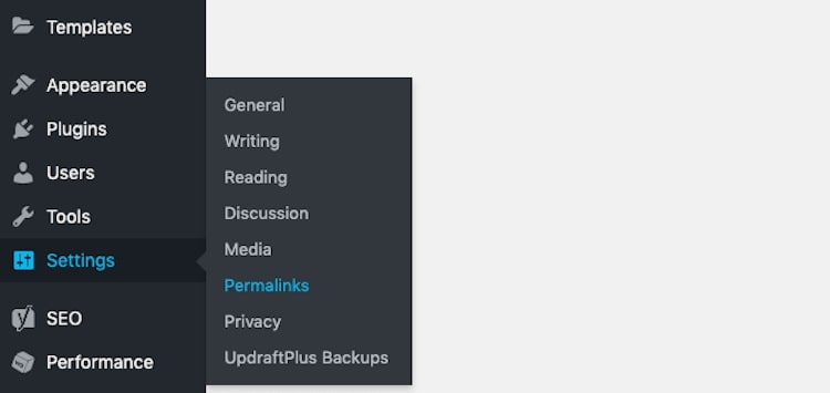 Settings Permalinks Menu