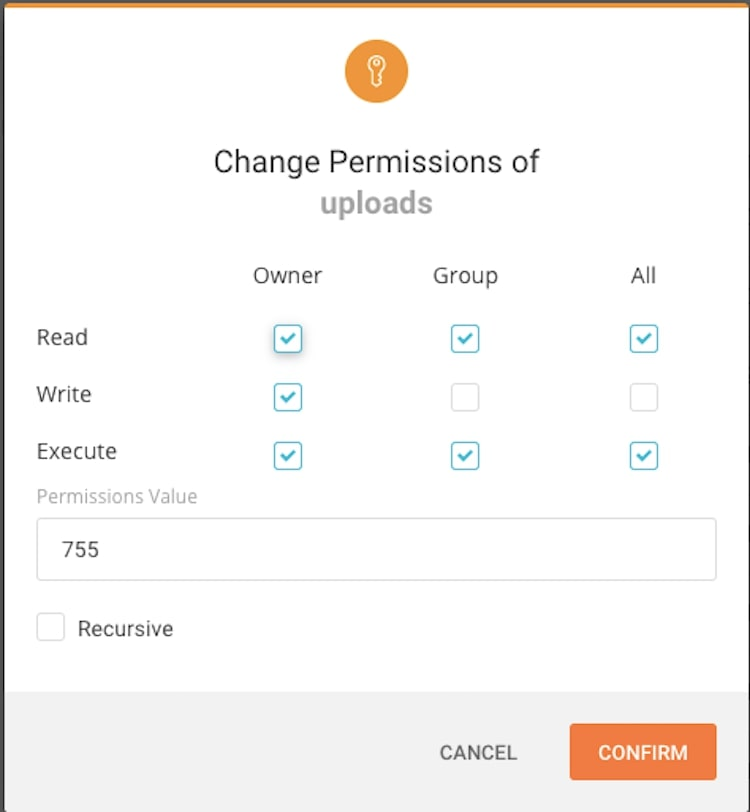 Uploads Change Permissions