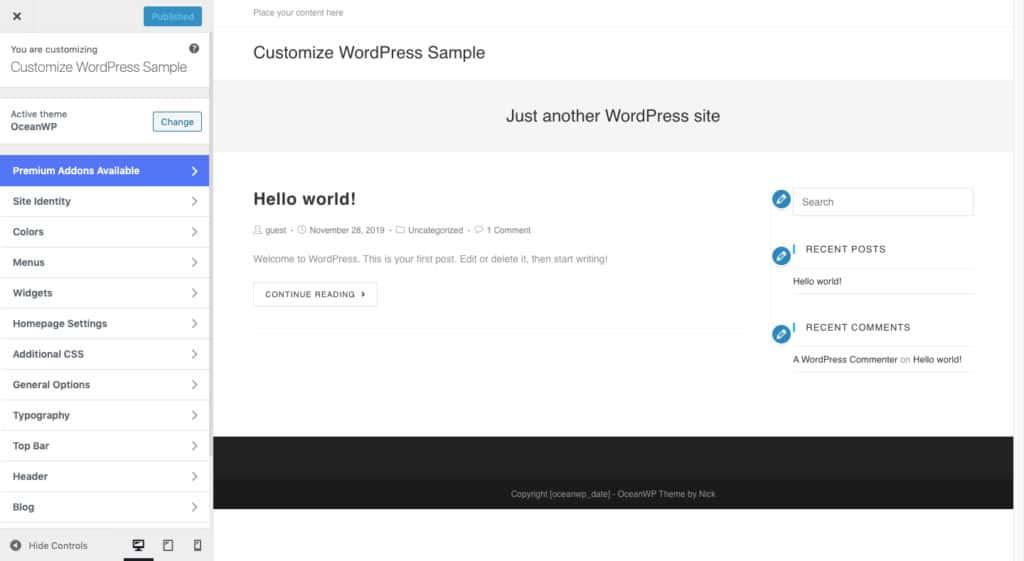 Personalizzatore di WordPress