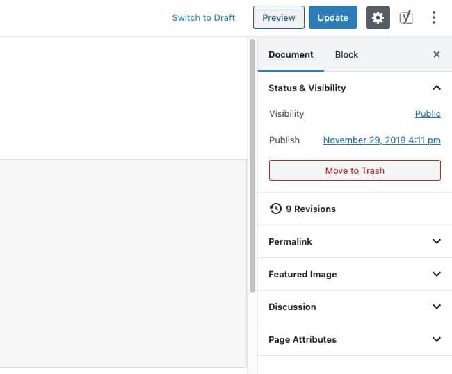 Impostazioni del documento WordPress