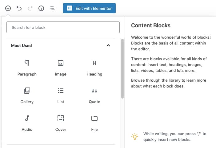 Blocchi dell'editor di WordPress