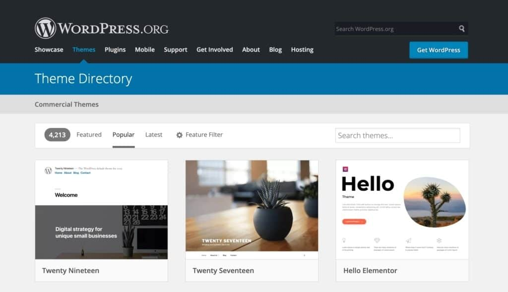 WordPress.com vs WordPress.org: themes
