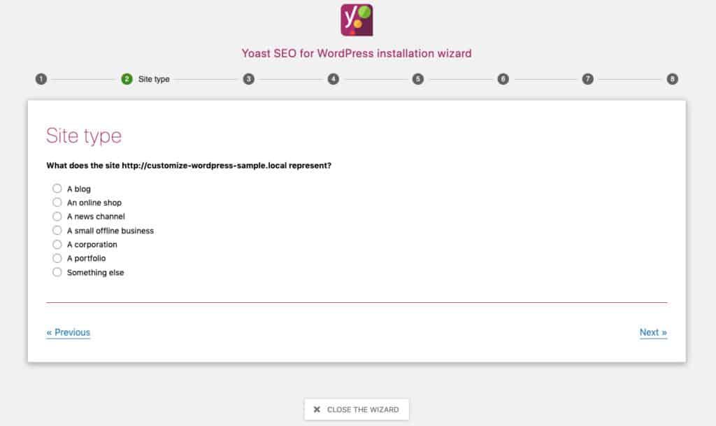 Yoast - Tipo di sito