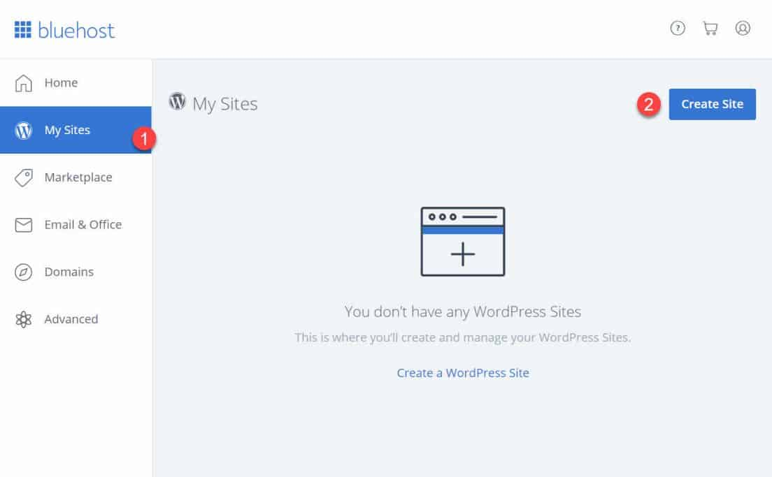 Bluehost My Sites screen when learning how to create a website