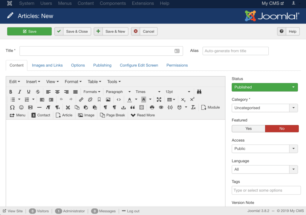 Best CMS demo: joomla creating a new post