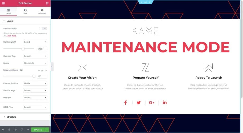 Customize Maintenance Mode Page