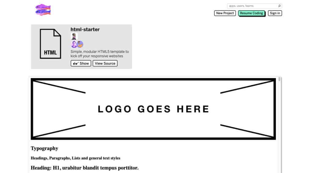 Glitch HTML Starter