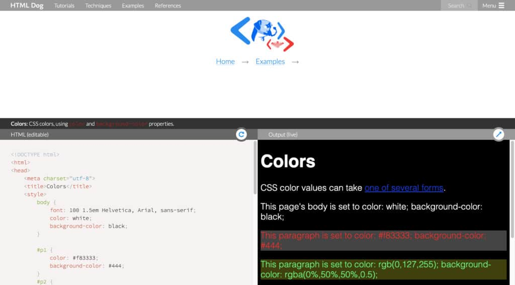 HTML Dog Examples