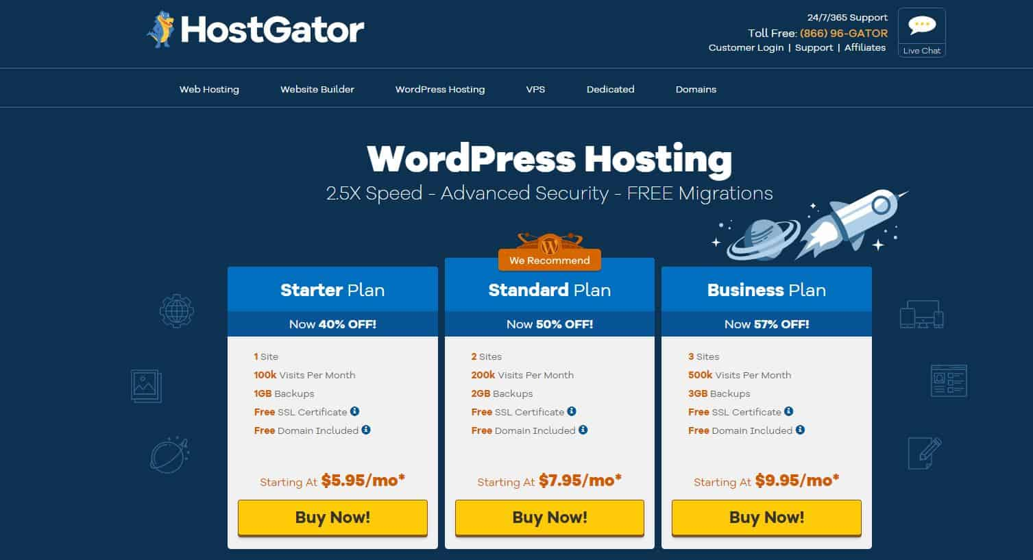 HostGator Managed WordPress hosting
