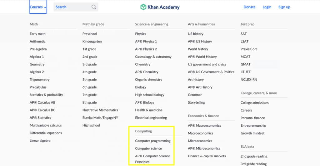 Khan Academy Courses