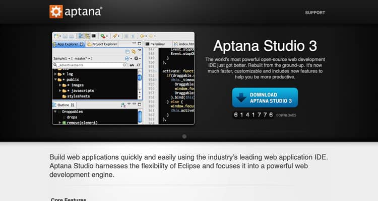 The Aptana Studio 3 website, which is one of the best IDE web development options.