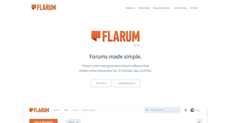 The Flarum website. It's a newer, free forum software.