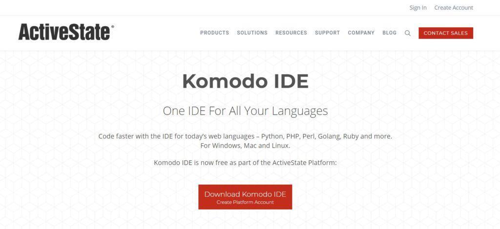 komodo IDE homepage