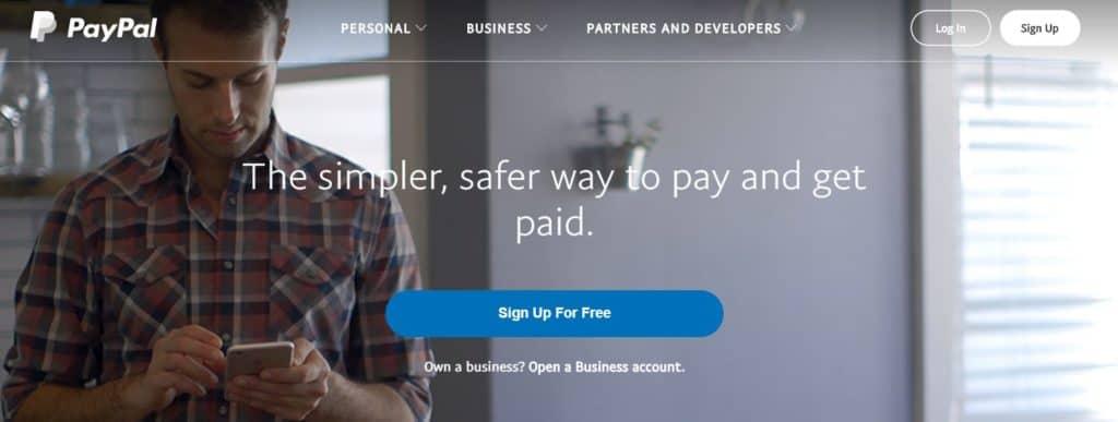 homepage di paypal