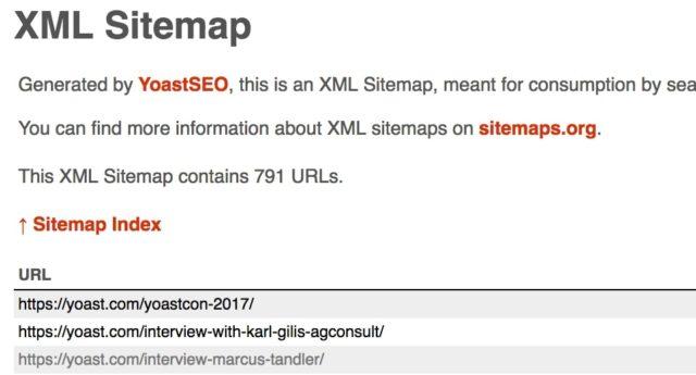 An example of an XML sitemap.