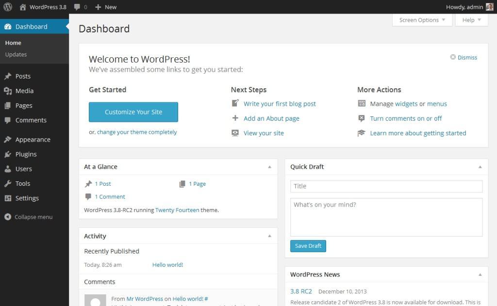 WordPress kontrol paneli (arka uç)