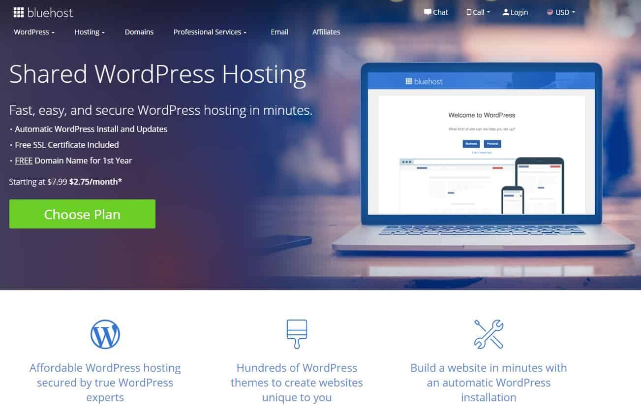 Alojamiento de Bluehost WordPress