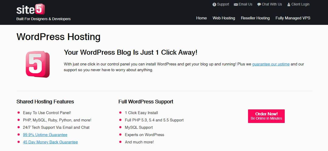 Site5 WordPress hosting