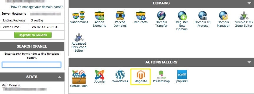 The Magento auto-installer in cPanel.