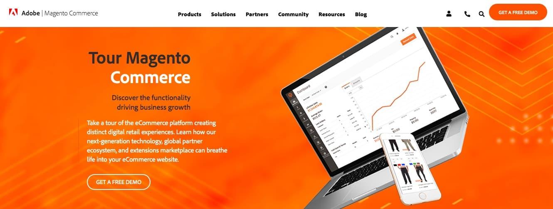 The Magento e-commerce platform homepage.