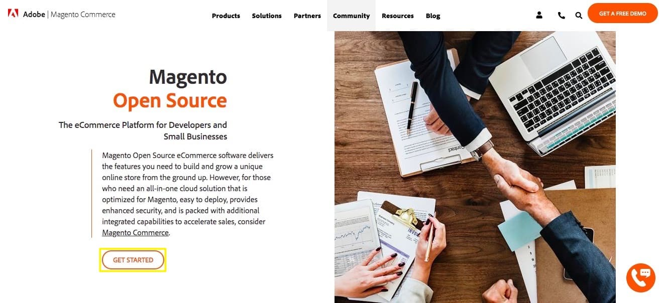 The Magento Open Source e-commerce platform homepage.