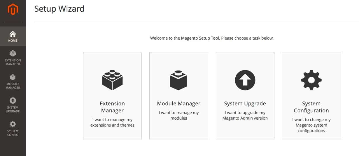 Magento setup wizard options.