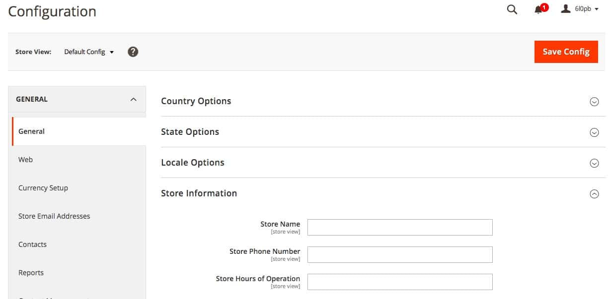 How to configure store settings in Magento.